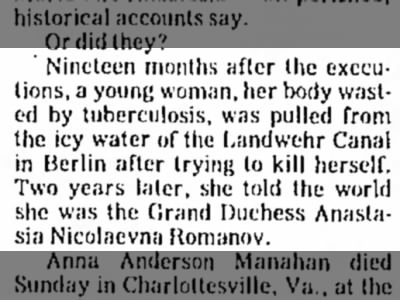 Anderson tells the world she is Anastasia after being pulled from the Landwehr Canal