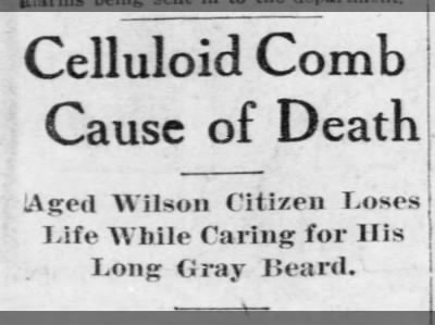 Celluloid Comb Cause of Death
