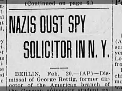 Nazi spy plan in US revealed.