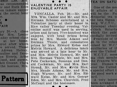 Society Valentine's Day party report.