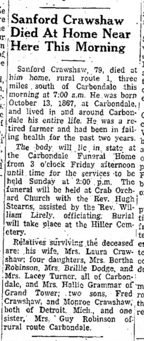 Sanford Crawshaw Obituary 2