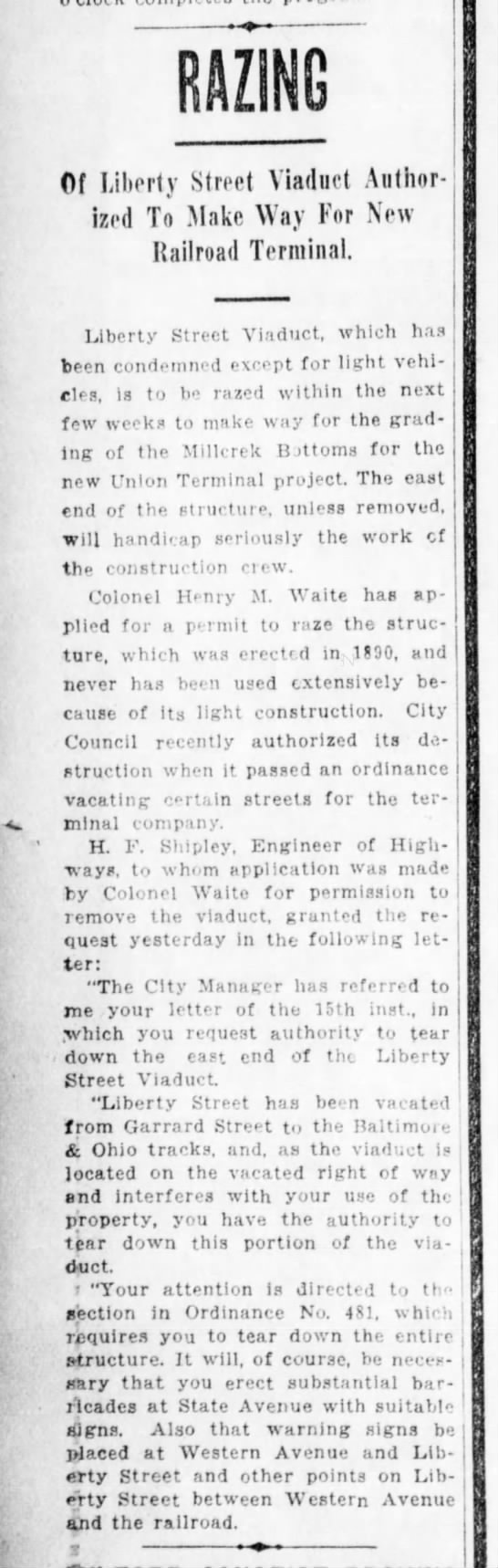 1929_08_25_Cinti Enquirer_Page 21_Razing of Liberty Street Viaduct
