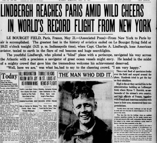 Lindbergh lands in Paris