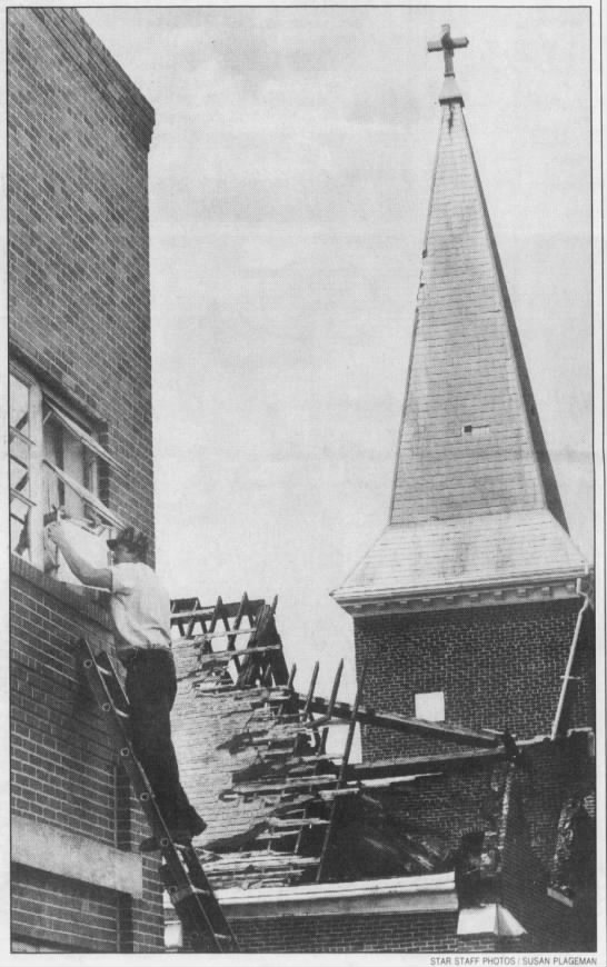 Methodist Church , Keith Willis doing repairs after 6/4/90 Tornado
