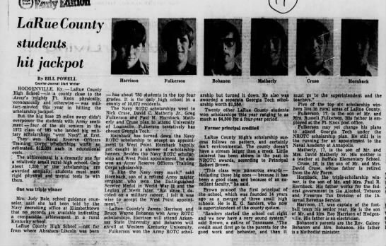 1972 - LCHS Students - Scholarships (military)