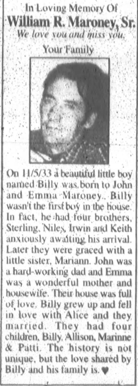 In Loving Memory of William R. Maroney, Sr.
