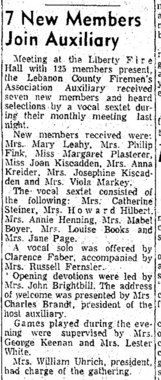 Kiscadden and Plasterer - 7 New Members Join Auxiliary 13 Feb 1957 LDN