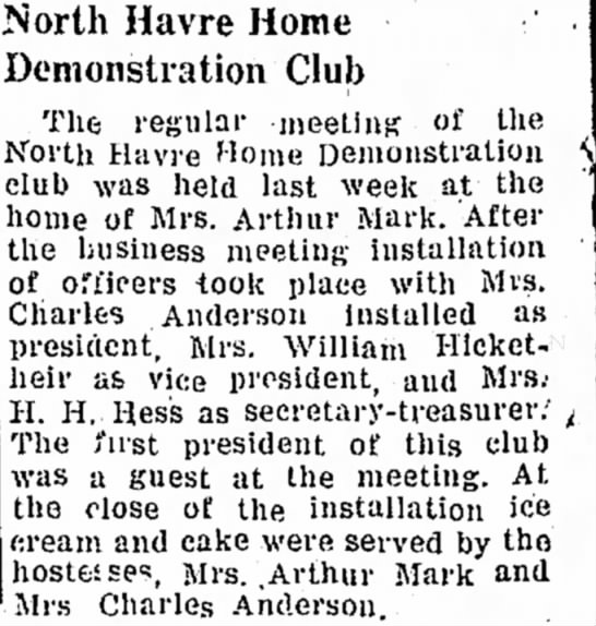 North Havre Home Demonstration Club - 13 Aug 1945 - Mrs. Charles Anderon