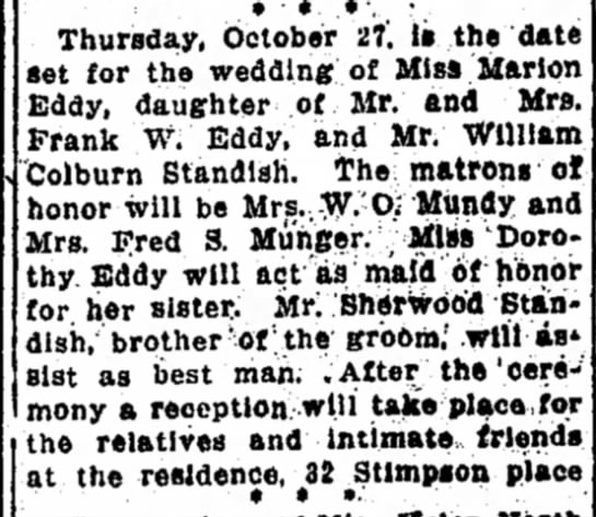 William Colburn Standish - Marion Eddy Marriage Detroit Free Press - 2 Oct 1910 - Page 39