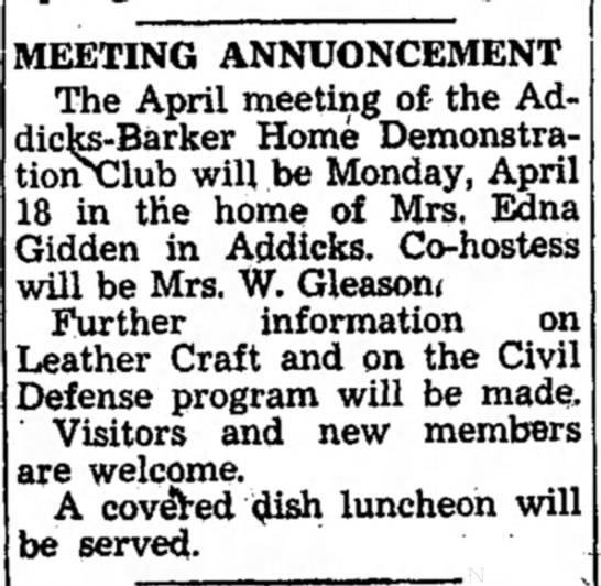 April 1955 Edna Giddens host party