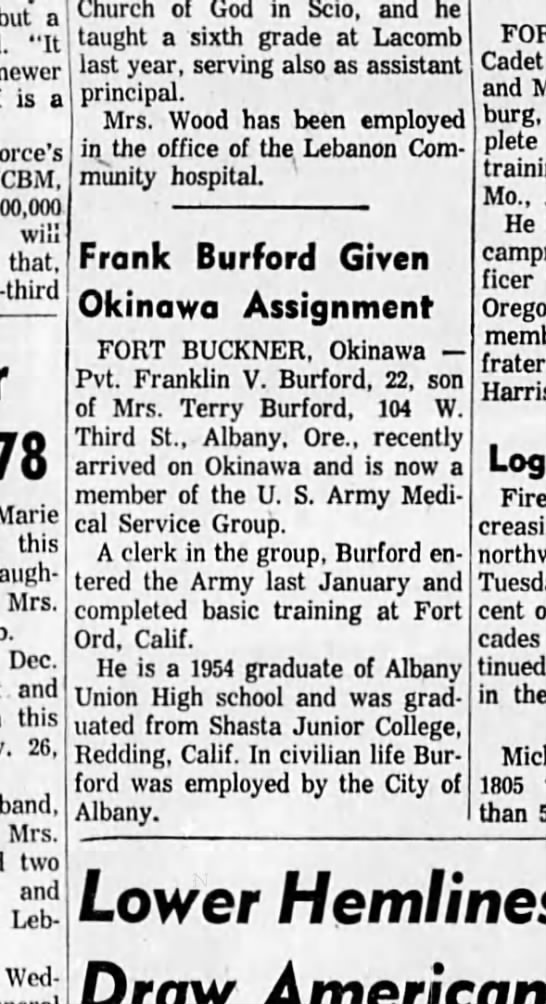 4 Aug 1958 Frank Burford Given Okinawa Assignment