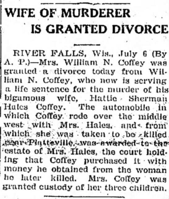 Mrs. Coffey Given Divorce from Murderer-Husband - 1927