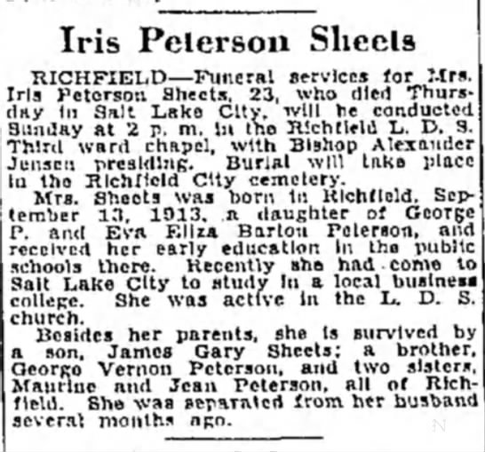 Iris Peterson Sheets obituary