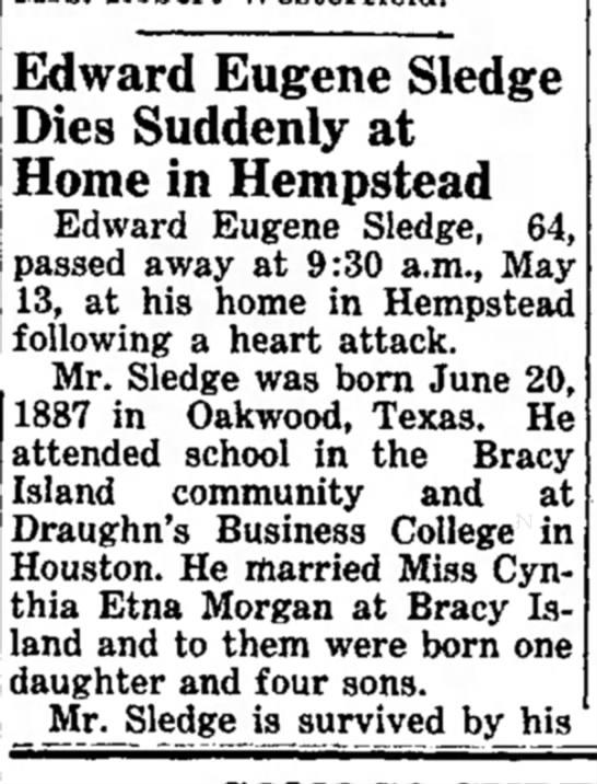Edward Eugene Sledge Obit