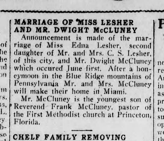 Marriage of Miss Lesher & Mr McCluney, 1920