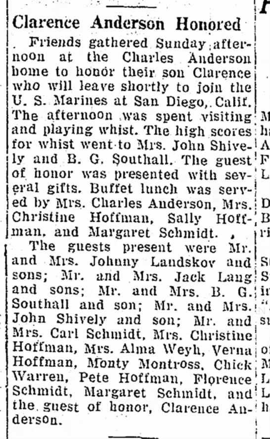 Clarence Anderson - Havre Daily - 17 Mar 1942
