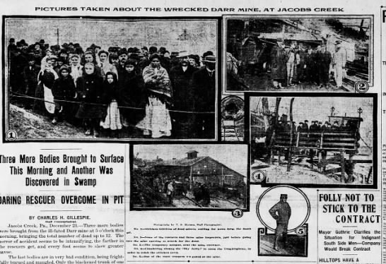 Images from the Darr mine disaster