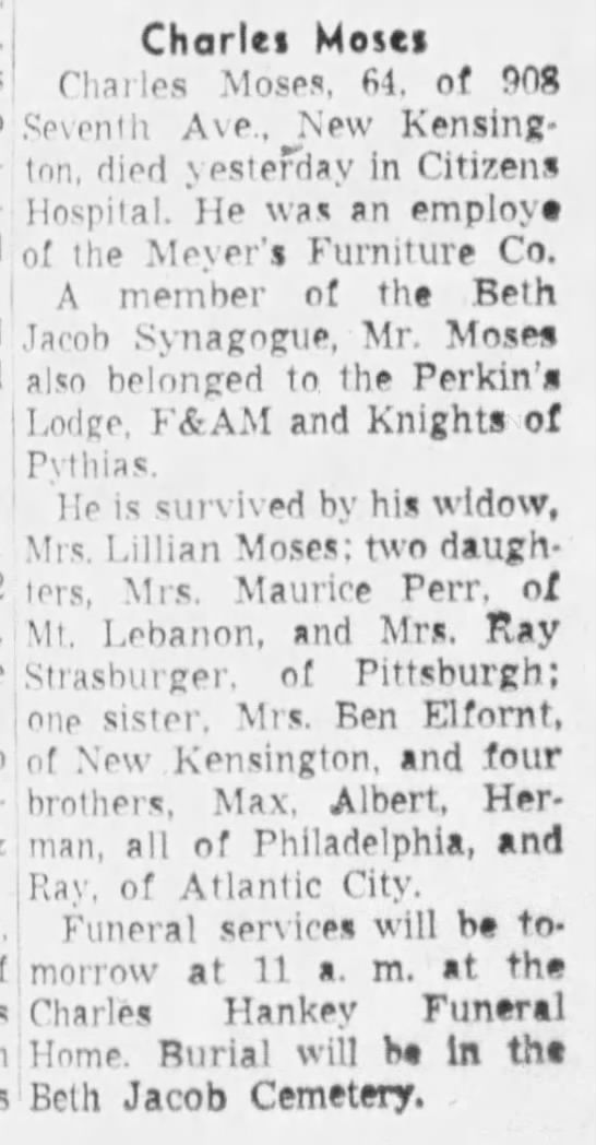 MOSES Charles moses death feb 1, 1959, Pittsburgh press