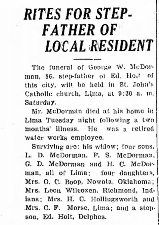George W. McDORMAN ~ 22 Feb 1940