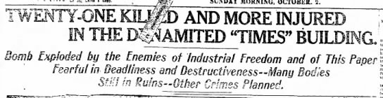 Headline about the 1910 LA Times bombing