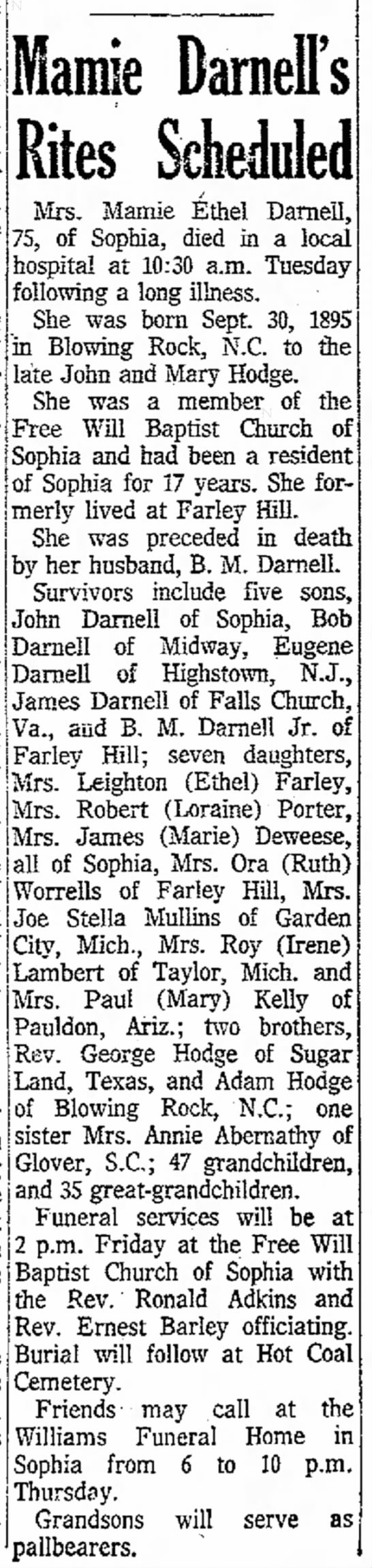 Mamie Darnell OBIT 06 January 1971