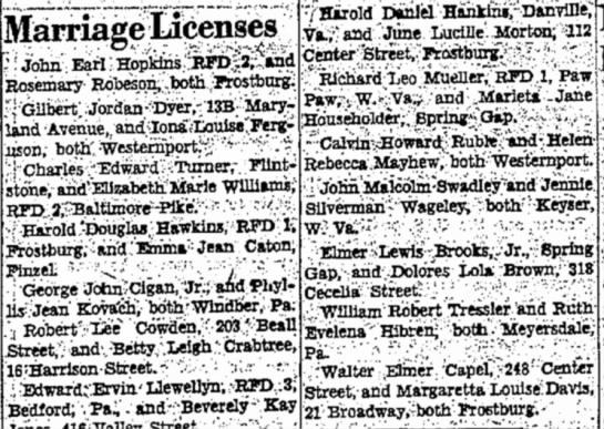 Capel, Walter Elmer  Margaretta Louise Davis Capel  marriage license  Sept 9, 1951