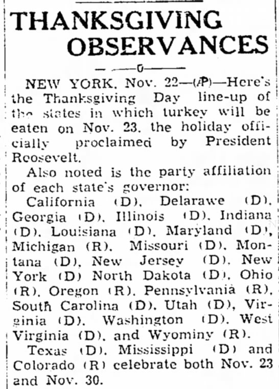 States follow Roosevelt's decision to celebrate Thanksgiving a week early