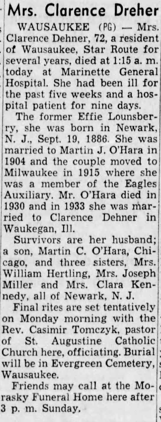 Obituary - Effie Marie Lounsberry Dehner