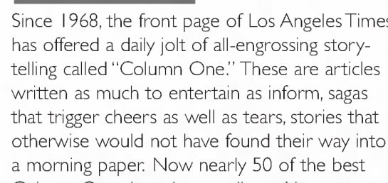 """Explanation of Los Angeles Times' """"Column One"""""""