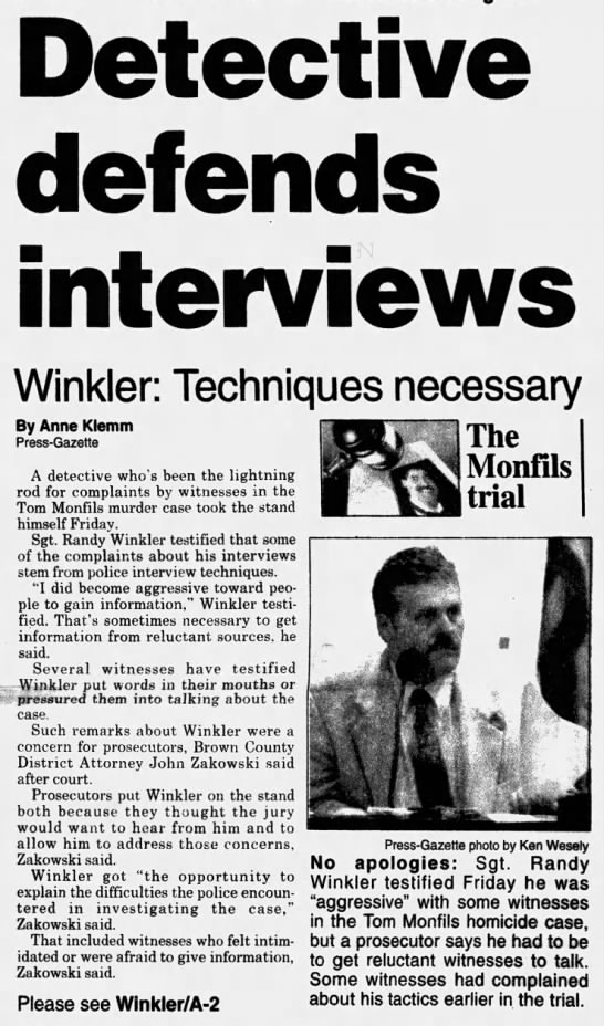 Oct 14, 1995, Monfils Homicide: Winkler defends interviews Pg 1