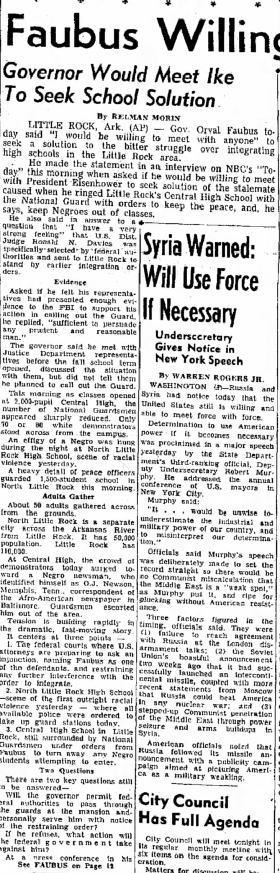 Faubus Willing to Talk: Governor would meet ikr to seek School solution