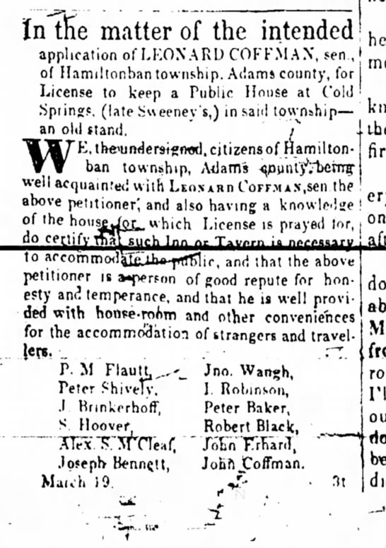 Adams Sentinel 26 March 1849 Peter Baker favors public house petition