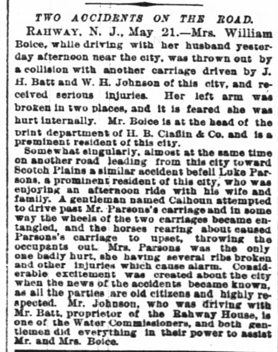 Horse and Buggy accident May 21, 1888 New York Times