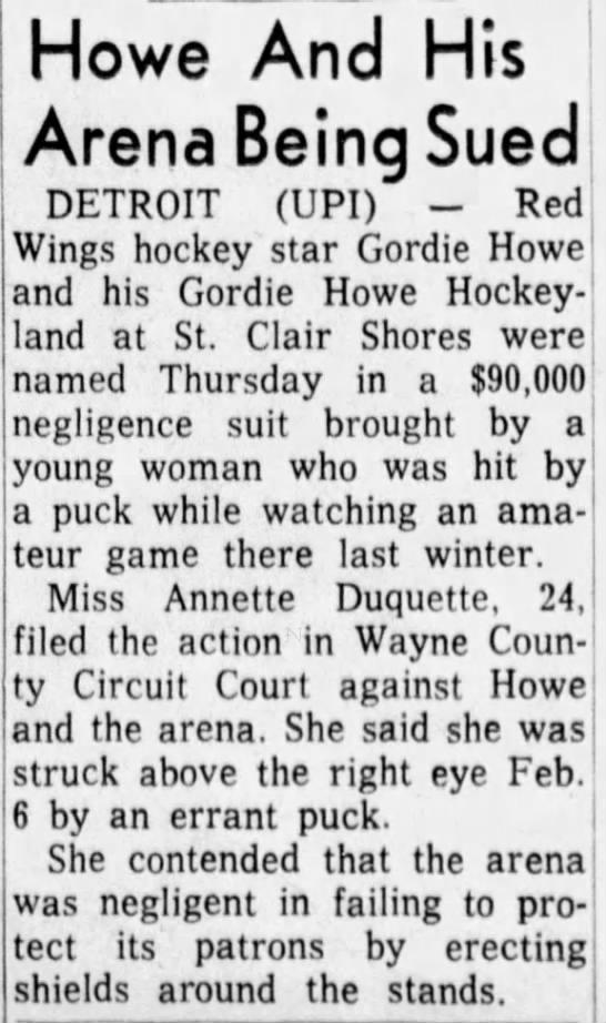 Woman sues Gordie Howe Hockeyland