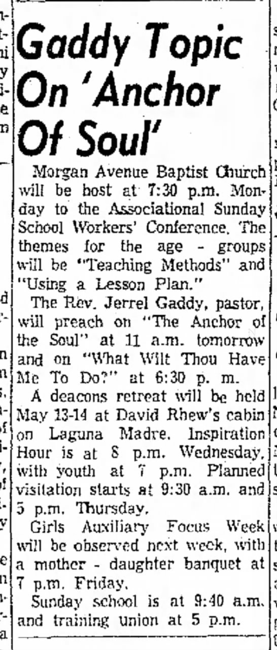 "1960_May_7_Corpus Christi Caller Times; ""Anchor of Soul"" pastor's topic; Rev. Jerrel Gaddy"