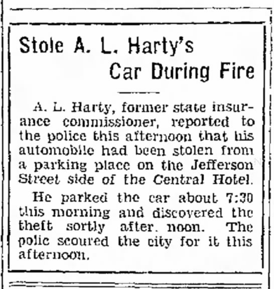A. L. Harty Car Stolen