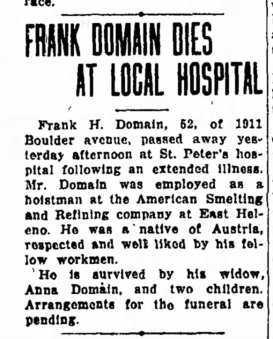 Frank Domain Dies at Local Hospital