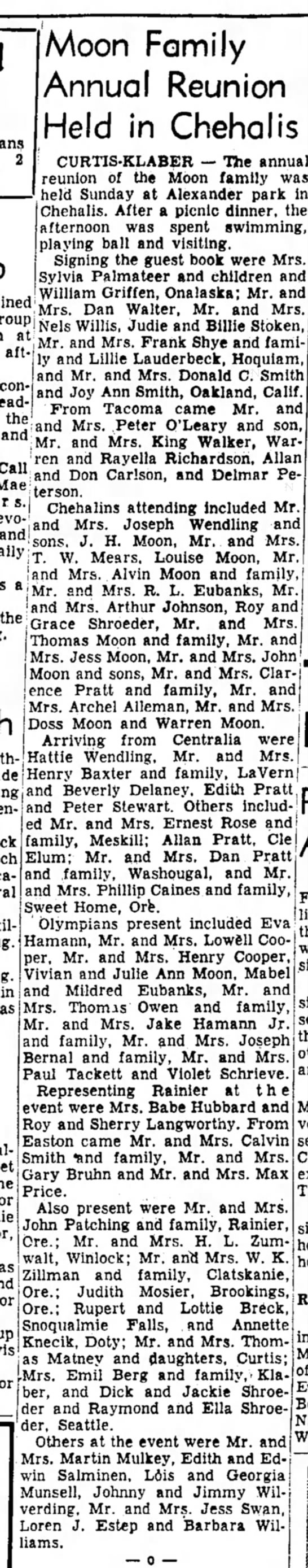 Willette, Louise Davis Moon: Moon Family Reunion