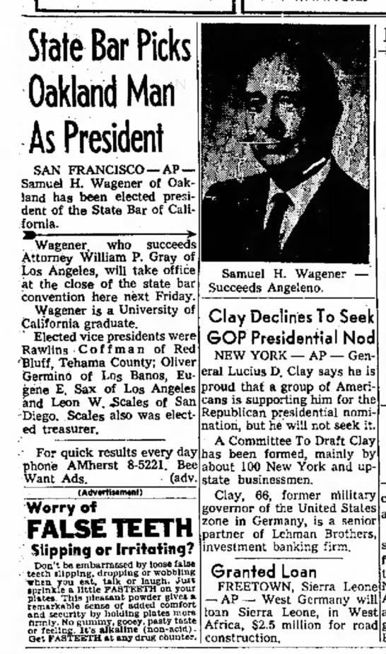 SHW president state bar 9/20/1963