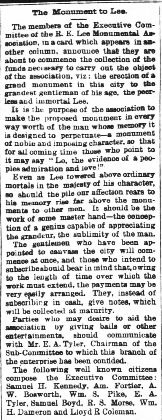 R.E. Lee Monumental Association formed New Orleans January 1871.