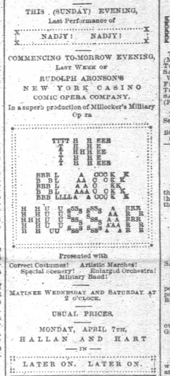 """The Black Hussar"" in San Francisco 30 March 1890"