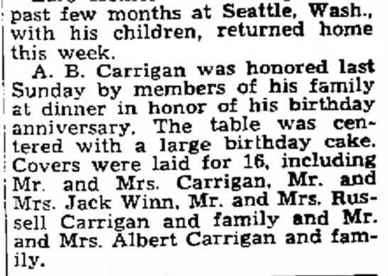 1947 A.B. Carrigan Birthday celebration article