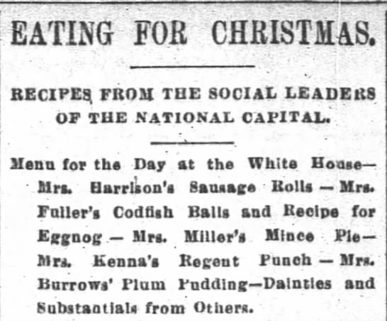 Recipes from DC ladies for Christmas 1889.