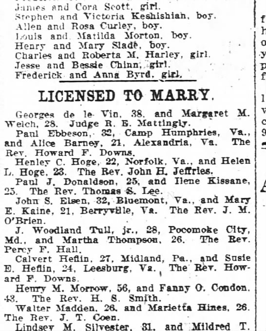 marriage license, Washington Post, DC Feb 8, 1921