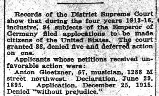 Anton Gloetzner citizenship rejection Washington Post 13 Dec 1917 p.16