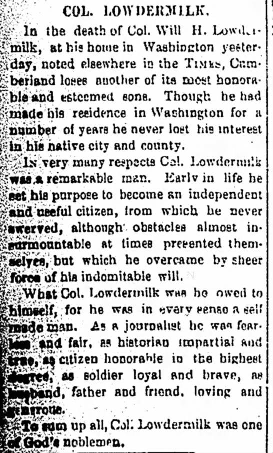 William H. Lowdermilk obituary