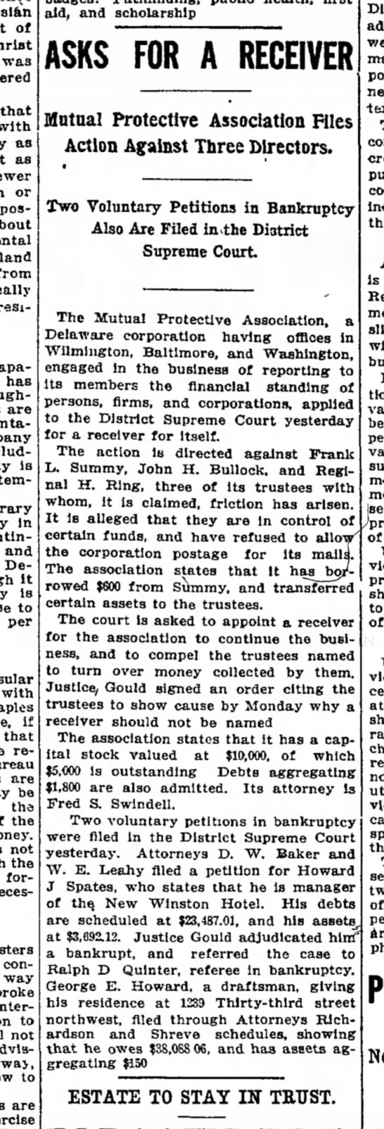 The Washington Post, 7 August 1914, Friday, Page 14: Frank L. Summy
