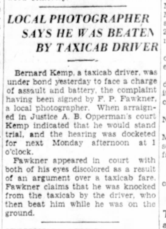 Fred Fawkner taxi beating 1936