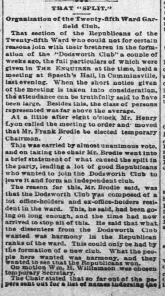 column 1  -  9 Sep 1866 25th Ward Garfield Club Enquirer - AR Basson