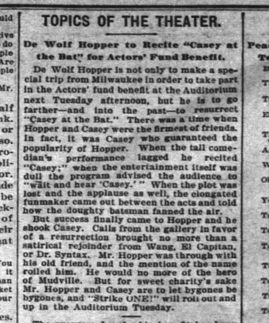 Actor's Fund Benefit Inter-Ocean Chicago 10 Oct 1902